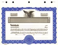 Stock Certificate GOES KG3 Custom Printed